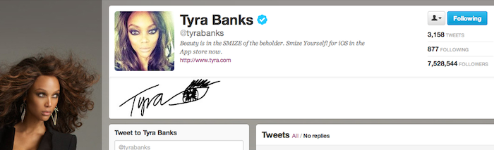 Tyra Banks' Twitter Page