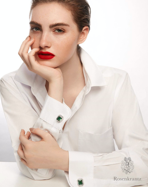 Em Marie in red lips and white blouse