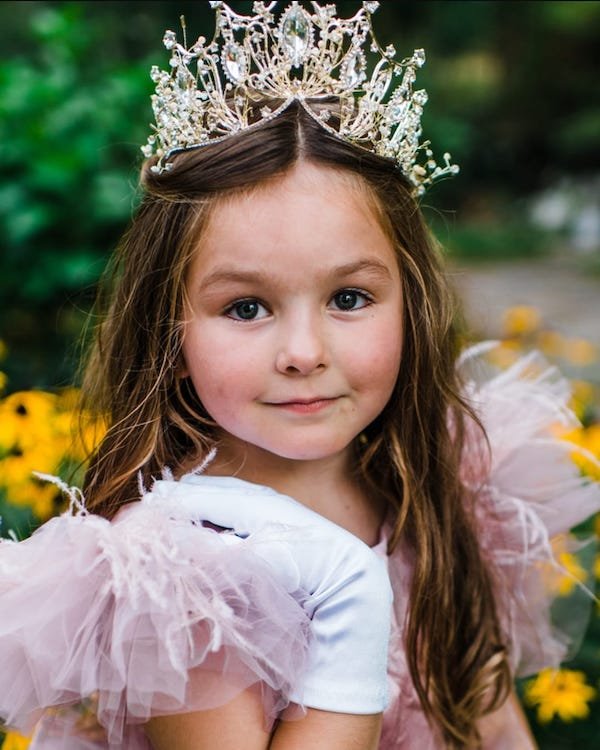 girl in crown and princess gown